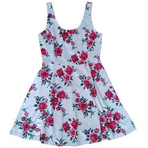 H&M Divided rose print mini skater dress size 12